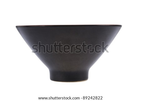 Single black contemporary ceramic pot isolated on white background. Included clipping path, so you can easily cut it out and place over the top of a design. - stock photo