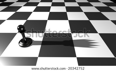Single black pawn on chess board with queen shadow - stock photo