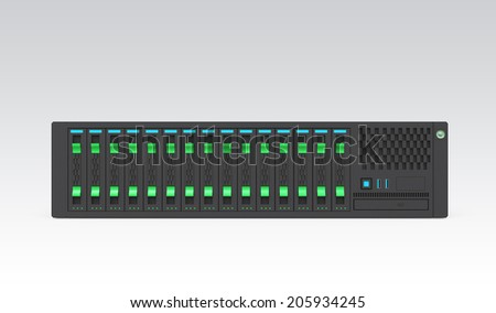 Single blade server isolated on gray background. Clipping path available. - stock photo