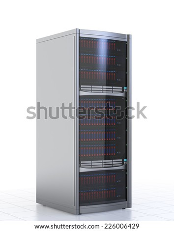 Single blade server isolated on white background - stock photo