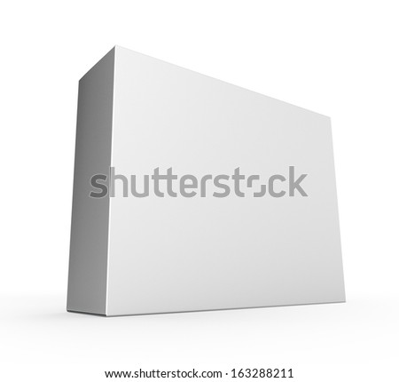 single blank carton box or product box isolated on white. 3d render - stock photo