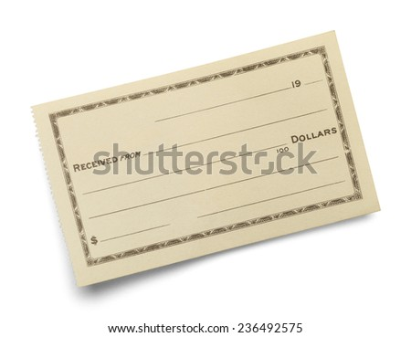 Single Blank Receipt Slip Isolated on White Background. - stock photo