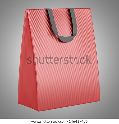 single blank red shopping bag isolated on gray background - stock photo
