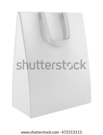 single blank shopping bag isolated on white background. 3d illustration