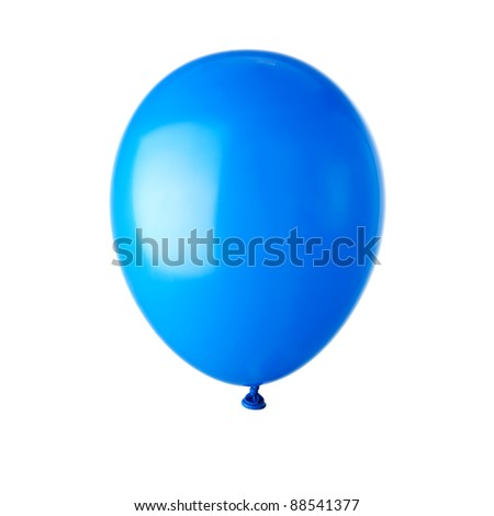 Single blue balloon isolated on white - stock photo