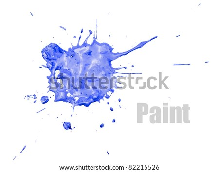 Single blue blot of paint with splashes, isolated on white. - stock photo