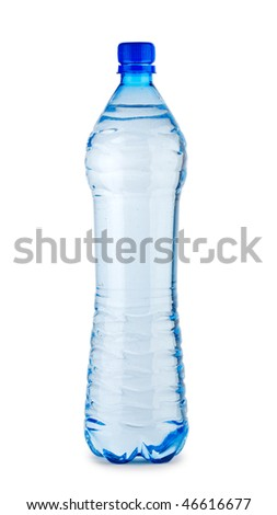 single blue bottle ith water isolated