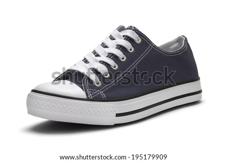 Single Blue Canvas Shoe with White Sole Isolated on White Background with Clipping Path.