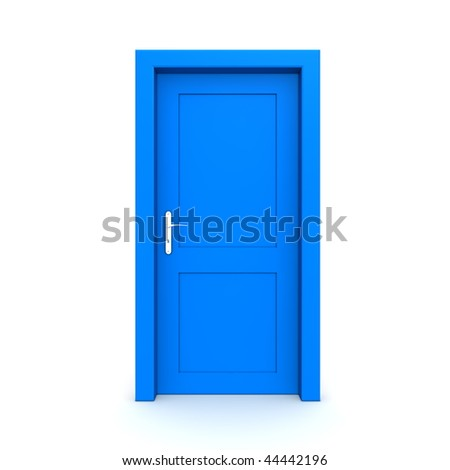 single blue door closed - door frame only, no walls