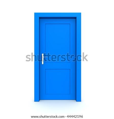 single blue door closed - door frame only, no walls - stock photo
