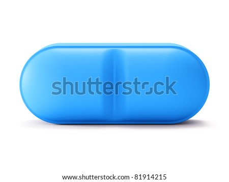 Single blue pill isolated on white background - stock photo