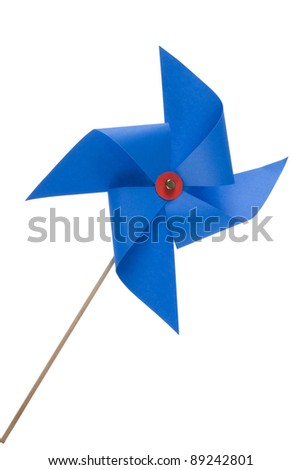 Single blue pinwheel isolated close up on white background. Included clipping path, so you can easily cut it out and place over the top of a design. - stock photo