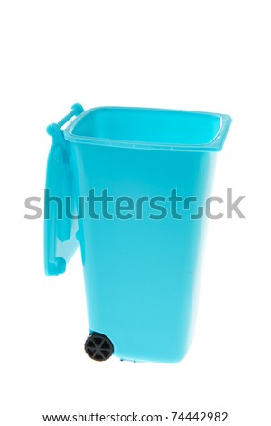 Single blue plastic roll container for garbage on white background - stock photo