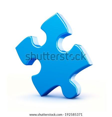 Single blue puzzle piece isolated on white background - stock photo