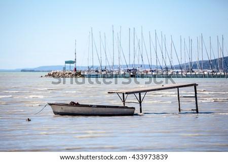 Single boat on lake Balaton in Hungry - stock photo