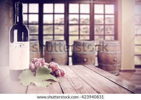 single bottle of wine  - stock photo