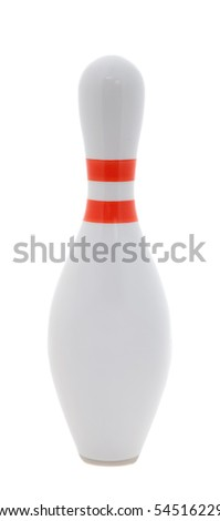 single bowling pin close up on white background - stock photo