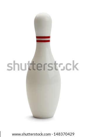 Single Bowling Pin Isolated on White Background. - stock photo