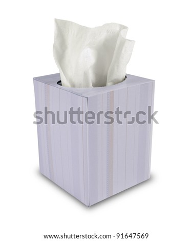 single box of tissue paper on white background - stock photo