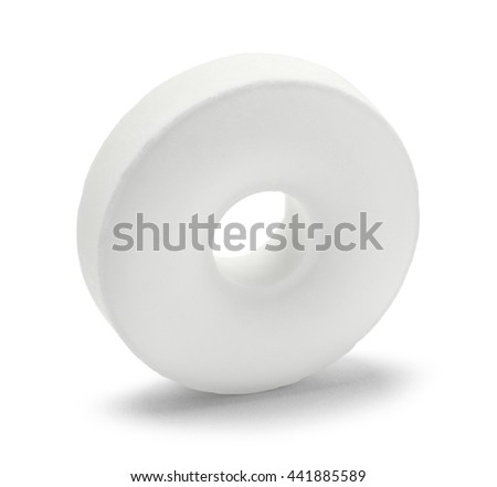Single Breath Mint Candy Isolated on White Background.