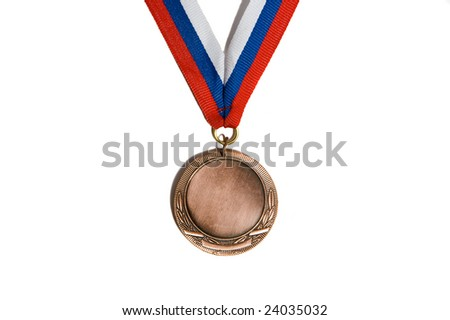 Single bronze medal with white-blue-red ribbon. Copy space inside the medal. Isolated on white background - stock photo