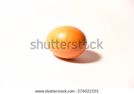 Single brown chicken egg isolated on white