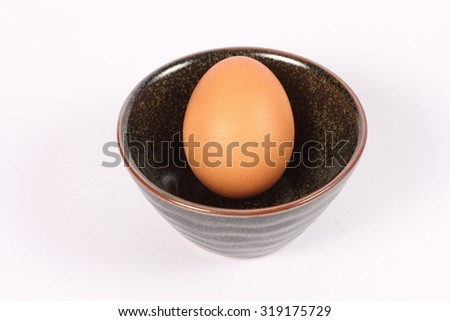 Single brown chicken egg on white background. - stock photo