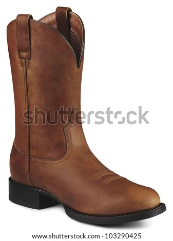 Single Brown Cowboy Boot - stock photo