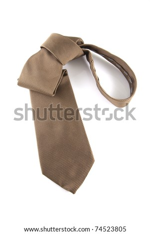 Single brown neck tie on a white background. - stock photo