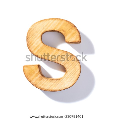 Single brown wooden S letter with 45 degree long shadow as a real life flat design font, isolated over the white background - stock photo