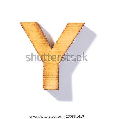 Single brown wooden Y letter with 45 degree long shadow as a real life flat design font, isolated over the white background