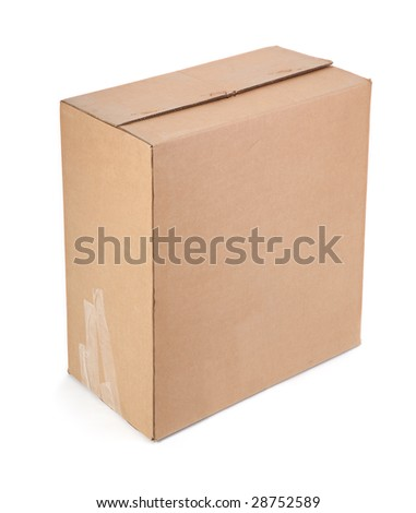 single cardboard box on white background