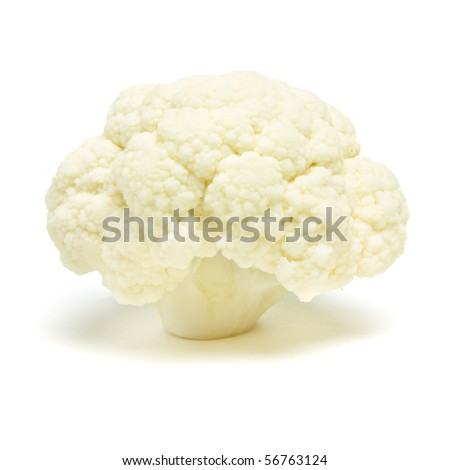 Single Cauliflower floret isolated against white background from low perspective. - stock photo