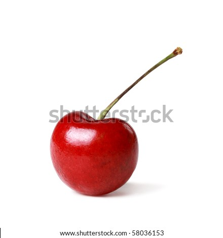 single cherry isolated on white background - stock photo
