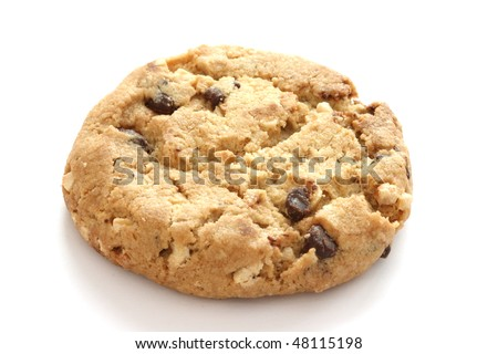 Single chocolate chip cookies on white background - stock photo