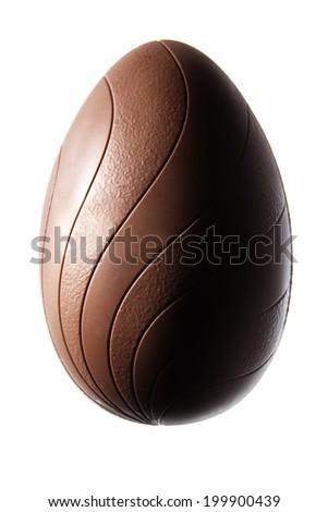 single chocolate easter egg on white background - stock photo