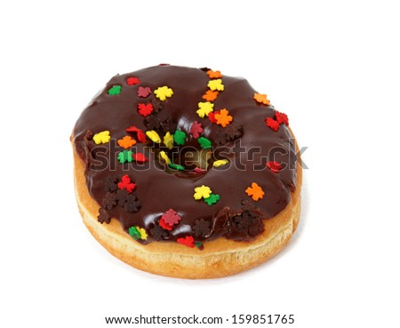 Single Chocolate Frosted Donut With Sprinkles Isolated On White Background - stock photo