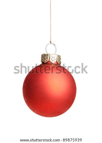 Single christmas ball on white background
