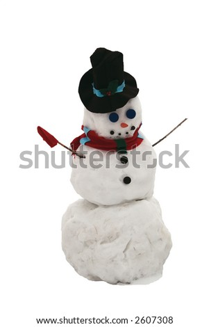 Single Christmas Snowman isolated on white - stock photo