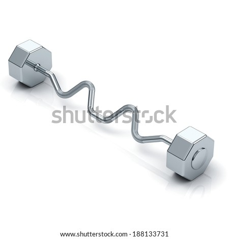 single chrome solid barbell with EZ curl bar on white background with shadow and reflection