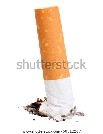 Single cigarette butt with ash. Close-up. Isolated on white background. Studio photography. - stock photo