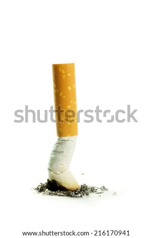 Single cigarette butt with ash isolated on white background - stock photo