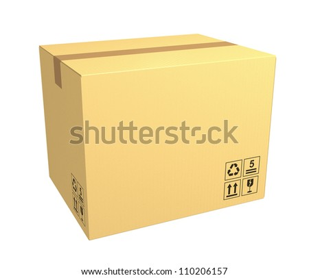 single closed cardboard box