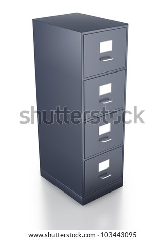 Single closed grey filing cabinet on white background
