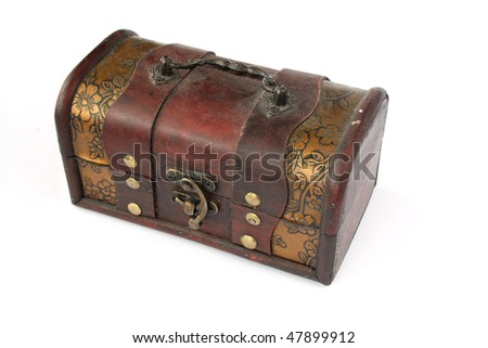 single closed old wooden chest with ornament - stock photo