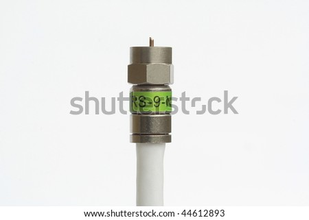 Single coaxial cable with connector - stock photo