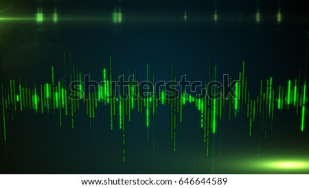 Single colorful eq, equalizer element isolated on dark background. sound audio wave, frequency, melody, soundtrack in night for dance electronic disco music