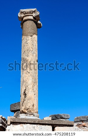 Single column from Ephesus ancient Greek city