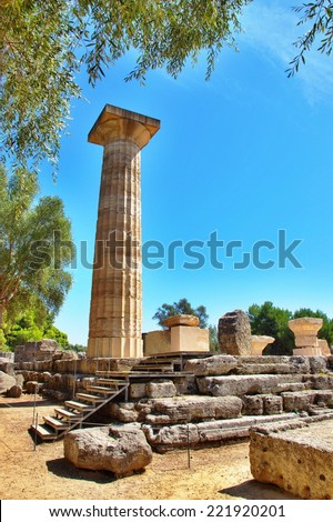 Single column from the temple of Zeus in Olympia, Greece. - stock photo