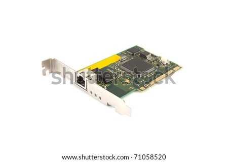 Single computer card on a white background.
